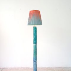 lamp 12, arcylic, canvas, light, metal and ceramic, 170 x 70 x 70 cm, 2017